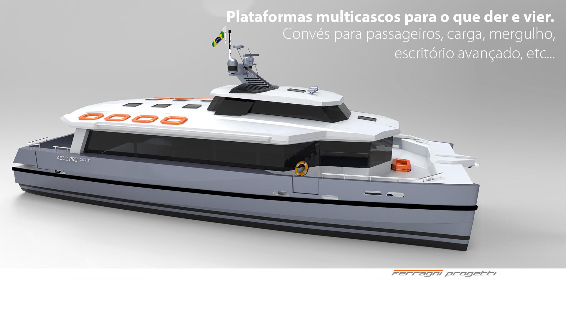 Plataformas multicascos para o que der e vier. Convés para passageiros, carga, mergulho, escritório avançado, etc…